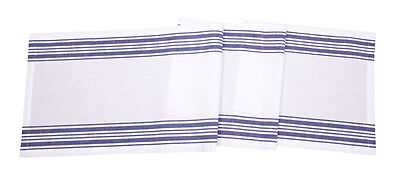 Cotton Table Runner Vintage French Stripes Blue