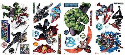 AVENGERS ASSEMBLE Wall Stickers 28 Decals MARVEL Hulk Iron Man Captain America