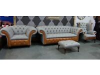 NEW Chesterfield 3 Seater Sofa & 2 Chairs with Stool Grey and Tan Leather Suite - UK Delivery