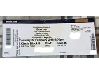 1x Bon Iver Seated Ticket Tuesday 27/2