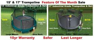 17ft & 15ft New Trampoline & Enclosure Deluxe Platinum Series Industrial Grade New In Box Sale,10 yr Warranty,