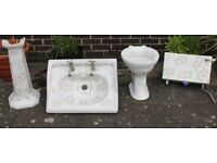 HERITAGE PATTERNED SINK WITH TAPS & PEDESTAL & TOILET WITH CISTERN SHELL DESIGN