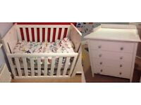 Grotime Nursery Furniture - Cot Bed and Chest with Changing Top