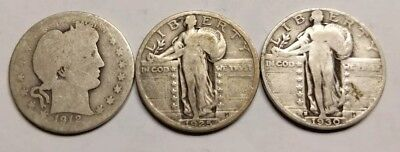 1912 US Barber Quarter 1925 1930 Standing Liberty Quarter Lot Circulated