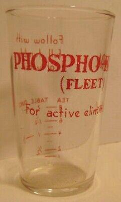 Old Medical PHOSPHO-SODA Fleet Drinking Tumbler / Glass for Active Elimination