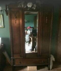 Oak wardrobe shabby chic antique