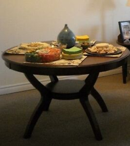 Beautiful Round Solid Wood 3'  Table with 4 chairs for sale!