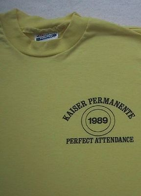 Vintage 1989 Kaiser Perfect Attendance Small T Shirt Vtg Permanente