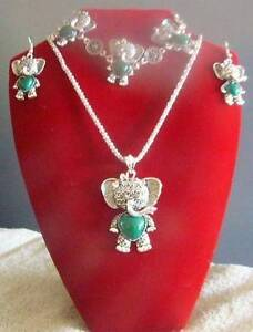 Elephant Jewellery - Heart Set with faux Jade stone - Free Post Balaklava Wakefield Area Preview