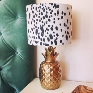 Gold Ceramic Pineapple Lamps (2) with black and white print shades Lambton Newcastle Area Preview