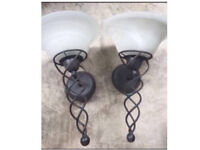 2 X wall lights with energy bulbs - great condition
