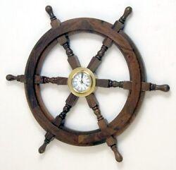 NAUTICAL Marine Navigation SHIP WHEEL with SOLID BRASS QUARTZ WALL CLOCK 18 New