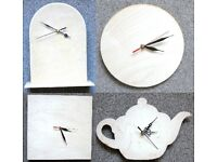 4 x wooden clock for decoupage, craft, decoration