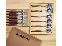 GLOOSWOOD Vintage Cutlery, 6 dinner forks, 6 dinner knifes, 6 dinner soup spoons