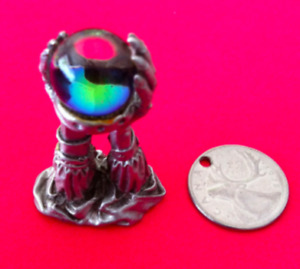 Pewter Figure Arms with Crystal Ball