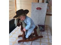 Rare The Ashton drake galleries asleep in the saddle porcelain baby boy toy doll rocking horse