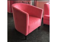 Pink bespoke-made lounge armchairs / tub chair (2 different shades of pink)