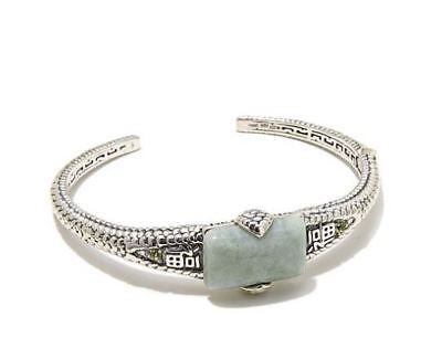 """Jade of Yesteryear """"Good Fortune"""" jade and Peridot Sterling Silver Cuff Bracelet"""