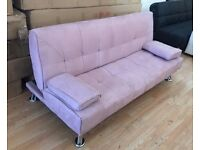 New 'Paris' Dusky Pink Fabric Sofa Bed (Free Local Delivery)