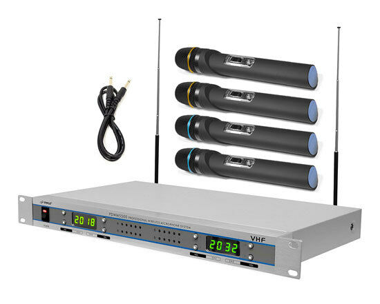 Pyle PDWM5500 VHF Wireless Microphone System with 4 Micropho