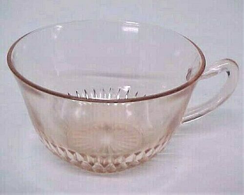 Vintage Anchor Hocking OLD COLONY Lace Edge Pink Depression Glass Cup