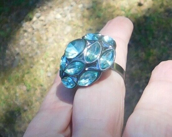 Large Pave Costume Ring Sz 6 Dome Dark Metal Turquoise Blue Stones