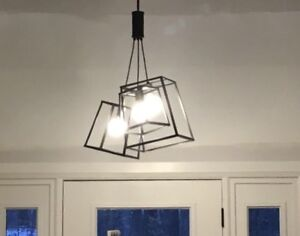 Three light chandelier black