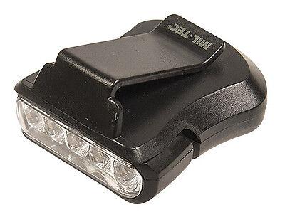 Mil-Tec Cap-Light 5 LED Schwarz Kopflampe Schirmmütze Lampe Hutlampe - Led Cap Light
