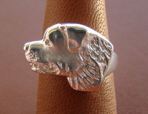 Large Sterling Silver Rottweiler Head Study Ring