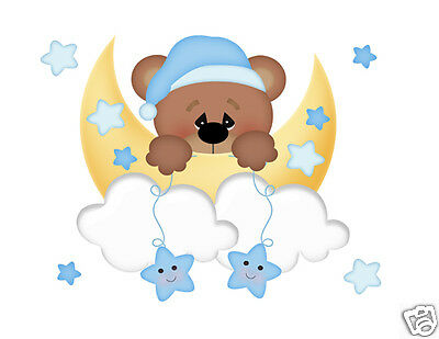 Teddy Bear Mural Wall Decals Baby Boy Nursery Cloud Moon Stars Art Sticker Decor