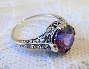 Exceptional Alexandrite Sterling Silver Engagement Ring Antique Vtg Style Filigree Size  6