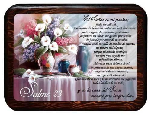 Cuadro Cristiano con Salmo 23, Cuadro de Madera Brilloso