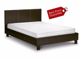 **SAME DAY FAST DELIVERY**BRAND NEW- DOUBLE Leather Bed With FULL FOAM 10 INCHES THICK Mattress