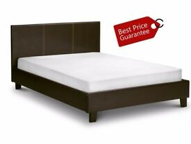 **Same Day Fast Delivery** BRAND NEW- DOUBLE Leather Bed With Full Foam Ortho Mattress