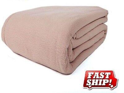1 new tan queen blanket 90x90 fleece soft warm hotel bedding westpoint premium ()