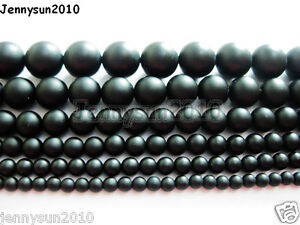 Natural-Onyx-Gemstone-Round-Beads-Matte-Black-15-5-4mm-5mm-6mm-8mm-10mm-12mm