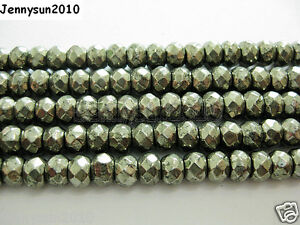 Natural Iron Pyrite Gemstone Faceted Rondelle Beads 16'' 3mm 4mm 6mm 8mm 10mm