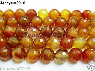 Natural Carnelian Gemstone Faceted Round Beads 15.5'' 3mm 4mm 6mm 8mm 10mm 12mm on Rummage