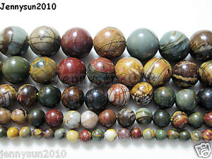 Natural-Picasso-Jasper-Gemstone-Round-Beads-16-Strand-4mm-6mm-8mm-10mm-12mm