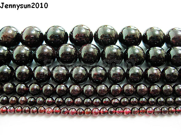 Natural Dark Red Garnet Gemstone Round Beads 15