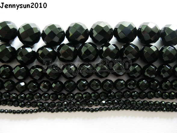 Natural Black Onyx Gemstone Faceted Round Beads 2mm 3mm 4mm 6mm 8mm 10mm 12mm