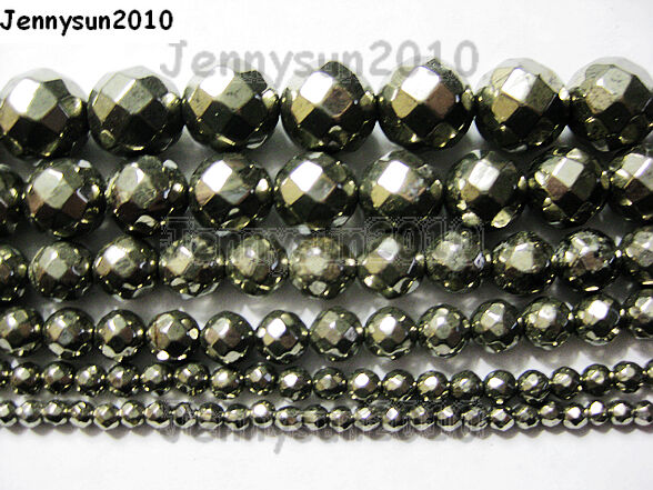 Natural Iron Pyrite Gemstone Faceted Round Beads 16