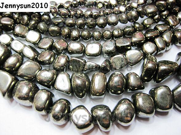 Natural Iron Pyrite Gemstone Freeformed Nugget Loose Beads 16