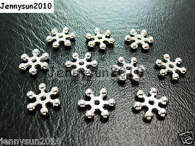Freeshipping 100pcs Silver Plated Snowflake Loose Spacer Beads 8mm 10mm - Beaded Snowflakes