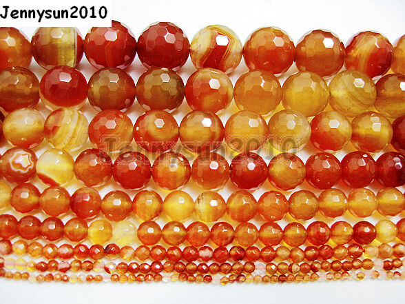 Natural Carnelian Gemstone Faceted Round Beads 15.5