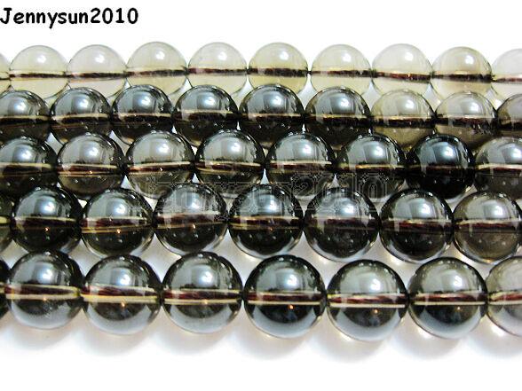 Natural Smoky Quartz Gemstone Round Loose Beads 15.5