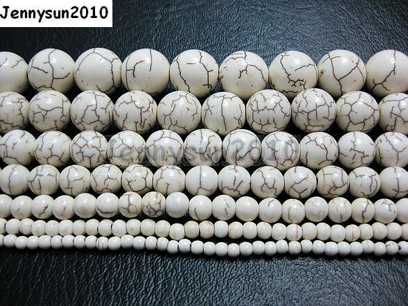 White Howlite Turquoise Gemstone Round Beads 15