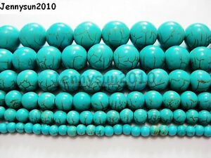 Howlite-Turquoise-Gemstone-Round-Loose-Beads-15-4mm-6mm-8mm-10mm-12mm-14mm