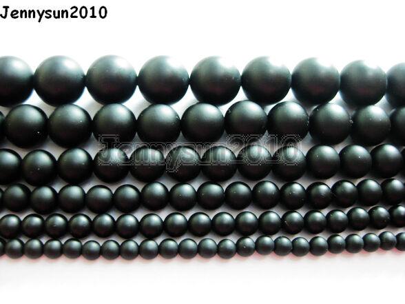 Natural Onyx Gemstone Round Beads Matte Black 15.5