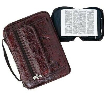 Burgundy Genuine Leather Bible Book Cover Purse Case Tote Bag - Bible Bag